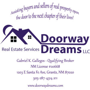 Doorway Dreams LLC real Estate Services information 505-287-4314 x11, 1203 E Santa Fe Ave., Grants, NM 87020